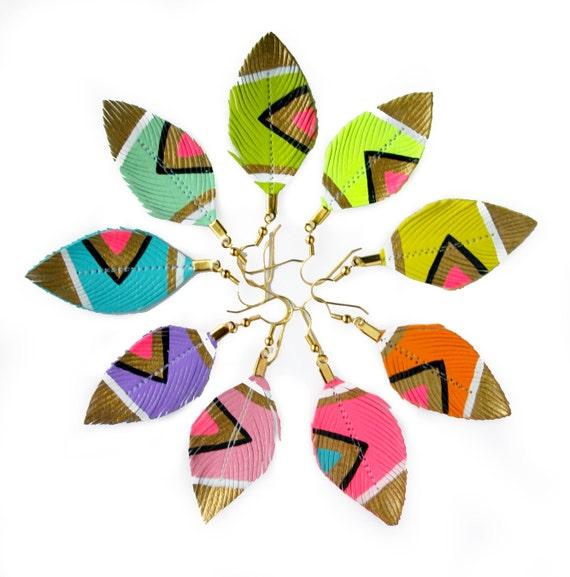 Feather Earrings, Neon Earrings, Small Feather Earrings, Faux Leather Feather Earrings, Hand Painted Jewelry, Pink Earrings - Neon Aztec