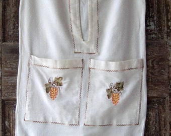 Laundry Bag Vintage from the 1950s Barkcloth embroidered German