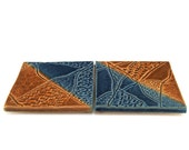 Ceramic Coasters:  Set of 2 Brown and Blue 'From the Sea' Coasters