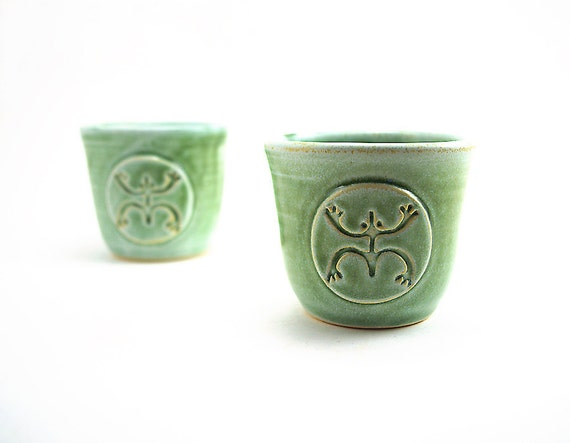 Pair of Green Coqui (Tree Frog) Rum Cups