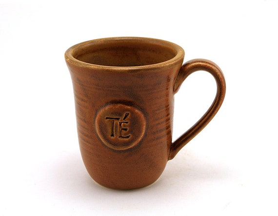 Brown Ceramic Tea Mug (Té in Spanish): Teacup, Unique Pottery Holiday Gift for Tea Lovers, Spanish Mug by MiriHardyPottery