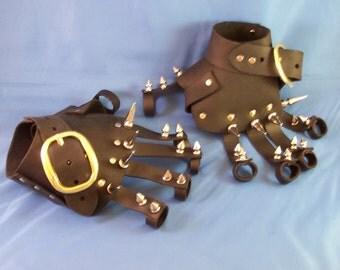 Black Leather Gothic Steampunk Steel Spike Gauntlets / Gloves