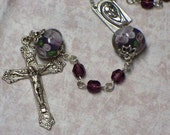Crystal and lampwork rosary, Purple
