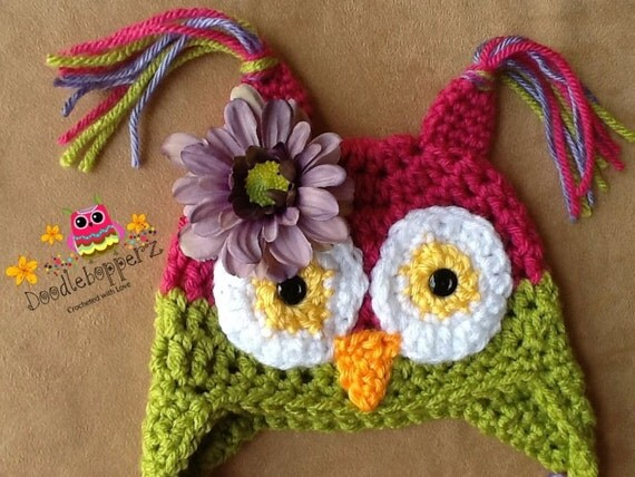 Baby Girl Owl Hat -  Pink and Green with antiqued purple silk flower- 0 to 3 Month - Photo Prop - Ready to Ship