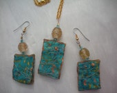 necklace and earring set, hand dyed silk, embelished, unique, original