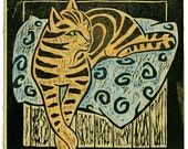 woodcut called Cushion Cat which is based on sketches of my cat Chloe.