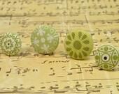 Flower Fabric Button- Apple Green, Pistachio- Firework, Carnation, Crop Circle, Star- Flower Pattern, Embellishment- 22mm, 28mm- DW0005X9