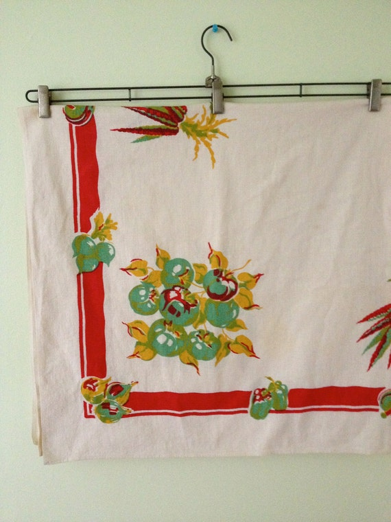 SALE - Vintage Fall/Harvest/Garden Tablecloth