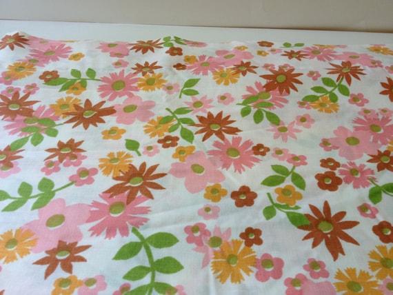 Vintage Floral Full Size Flat Sheet - Fabric - Pink/Orange