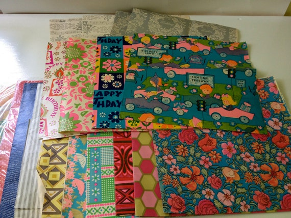Large Lot of Assorted Vintage Wrapping Paper - Birthday/Wedding/All Occasion