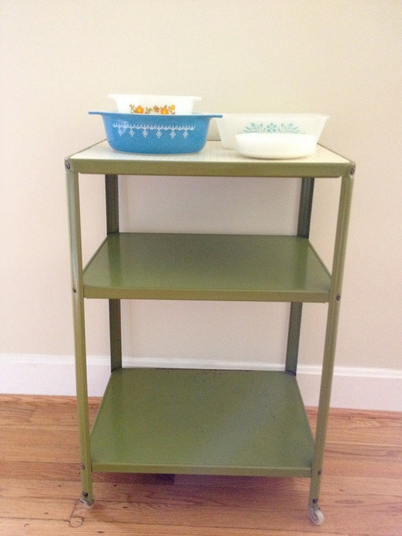 Vintage Industrial Kitchen Cart - Green