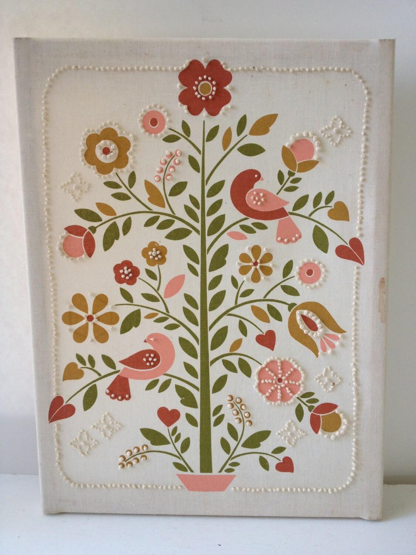 Sale vintage crewel embroidery tree bird art