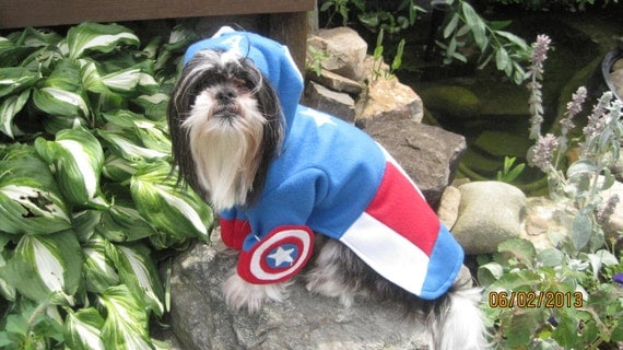 First Avengers Super Hero Captain America Dog Costume size Large