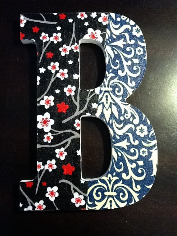 "8"" wood letter 'B' - fabric topped, with blue, white, red, black, white - cherry blossoms - flowers - Initials - Words"