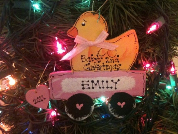 Duck Personalized Ducky Wagon Ornament Christmas decor Baby's 1st 2nd 3rd pink 2012