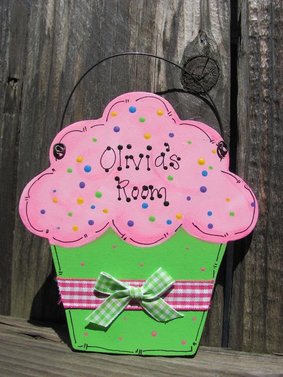 Personalized  Cupcake sign kids door room decor food bakery handpainted wooden  wood craft cute