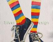 Striped Socks, Converse Shoes, Original Watercolor Painting
