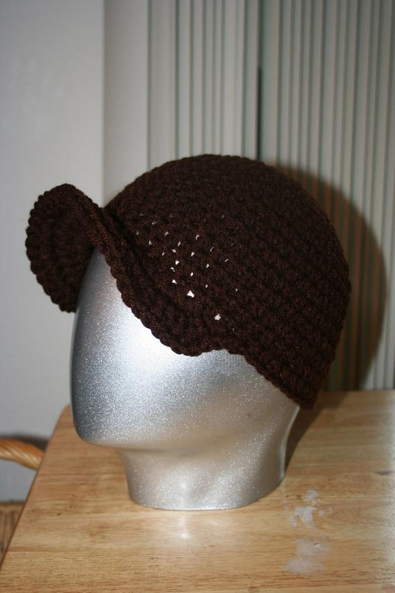 Coffee Brown beanie with stiff brim Baseball hat syle crochet