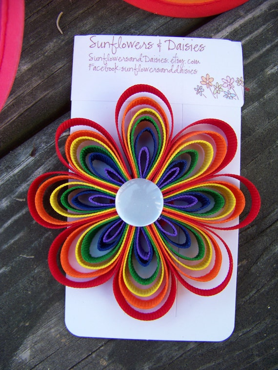 Rainbow Ribbon Flower Hair Clip/Barrette with White Button Center- Rainbow Birthday Party Bow
