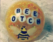 Bee-otch Bee Large Resin Dome Ring