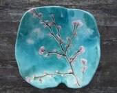 Ceramic bowl Cherry blossom turquoise pink white Sakura MADE TO ORDER