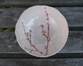 Ceramic serving bowl, cherry blossom bowl, cream, pink, Sakura medium READY TO SHIP