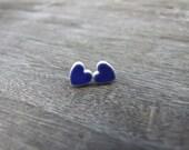 Royal blue heart earrings tiny ceramic hearts stud posts