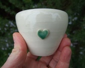 Ceramic bowl cream, little green heart, wheel thrown, trinket dish