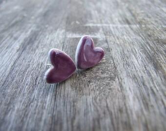 Purple glazed earrings little hearts shiny plum ceramic