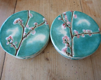 Cherry blossom ceramic coaster round turquoise crackle glaze Sakura pink blossom Spring time MADE TO ORDER
