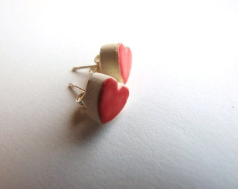 Red heart earrings, hypoallergenic stud posts, gift for her