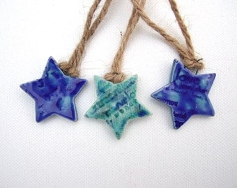 3 Blue star decorations, rustic gift tags hemp twine love words turquoise Holiday ornaments