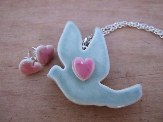 SALE Dove pendant grey green celadon crackle glaze pink heart silver plated chain grey jade