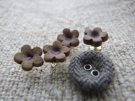 Little flower earrings toasty brown, pink glazed center, studs posts