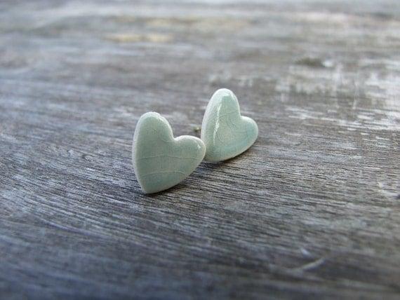 Grey jade heart earrings celadon green crackle glaze little hearts stud posts grey green soft green