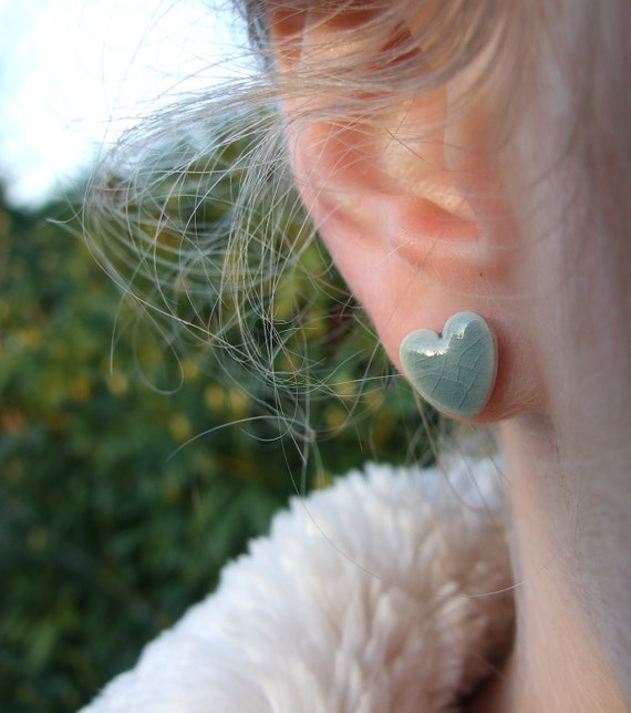 Grey jade ceramic earrings celadon green crackle glaze hearts stud posts grey green soft green grey jade