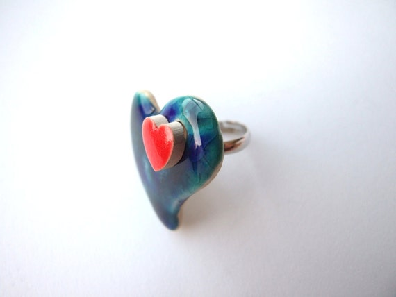 Blue red heart ring fashion ring statement ring