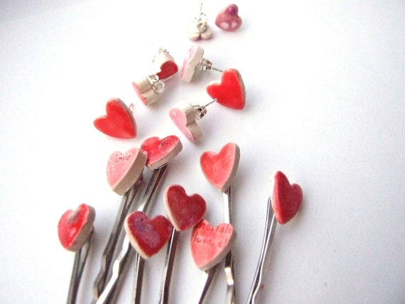 Heart bobby pins, Valentine's gift, 2 cute red or pink glazed ceramic hair pins