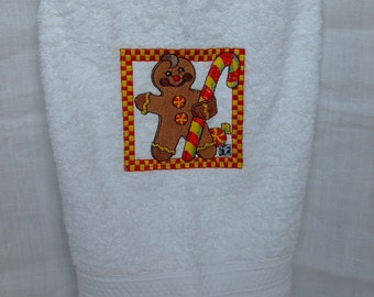Bathroom white towel embroidered,Christmas gift,white towel,gingerbread embroidery