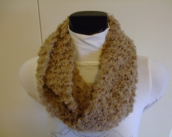 Scarf,Neckwarmer,Cowl,Natural,Cream Capuccino,boucle' wool yarn knitted
