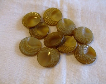 Green Shiny Buttons,Vintage ,Supplies,10pcs,buttons