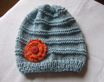Baby hat,pale blue,cotton yarn,size 2-3 years,baby girl