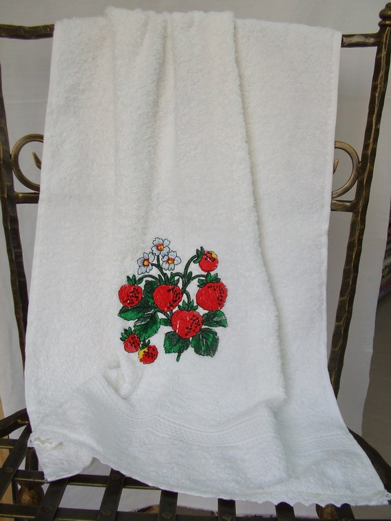 White bathroom towel,towel for kitchen,cotton sponge,embroidered with red strawberries