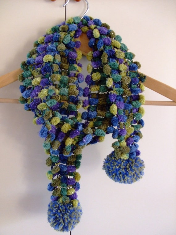 Scarf,Chenille Blue,Green,Purple,Violet,Knitted With Pom Pom