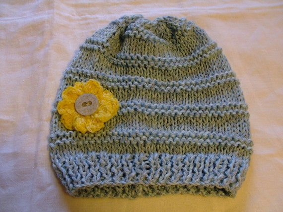 Baby Cap ,Knitted,Pale Blue,Cotton,2-3 years