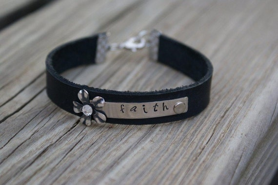 Black Leather Bracelet with Personalized Nickel plate attached