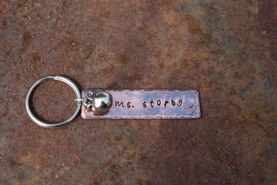 Personalized Hand Stamped Copper Key Chain with an apple charm