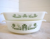 ON SALE retro 60s green queen victoria glasbake ovenware refrigerator dishes eames era style