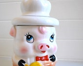 vintage kitchen, pig cookie jar, be a piggie with this cute cookie jar