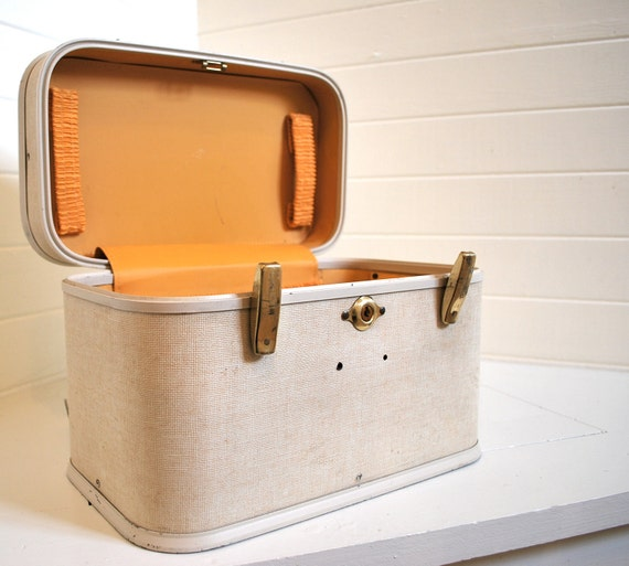 vintage mid century modern orange and cream train case: vanity, knitting box, sewing box